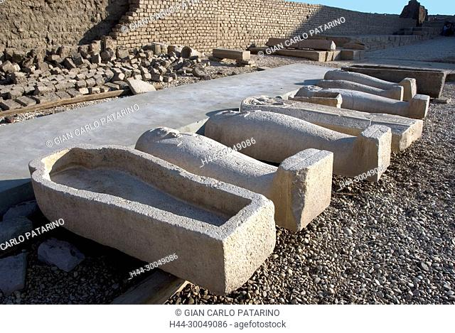 Egypt,Dendera,Ptolemaic temple of the goddess Hathor.View of various stone coffins