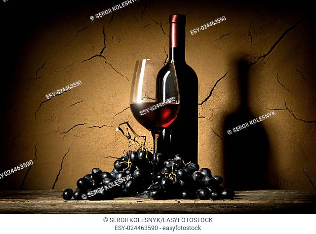 Wine with grape old in clay cellar