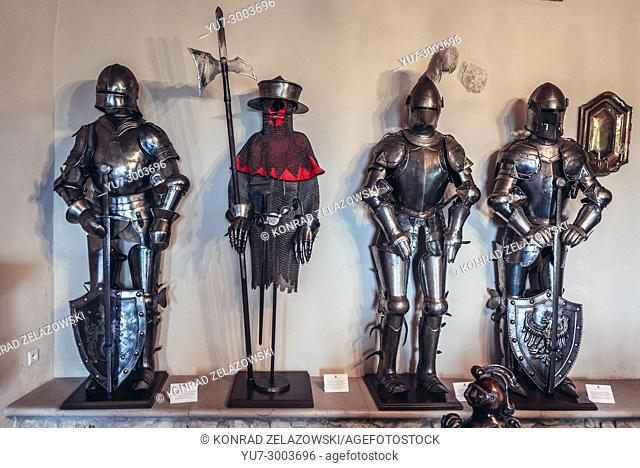 Exhibit in restored castle in Bobolice village, part of the Eagles Nests castle system in Silesian Voivodeship of southern Poland