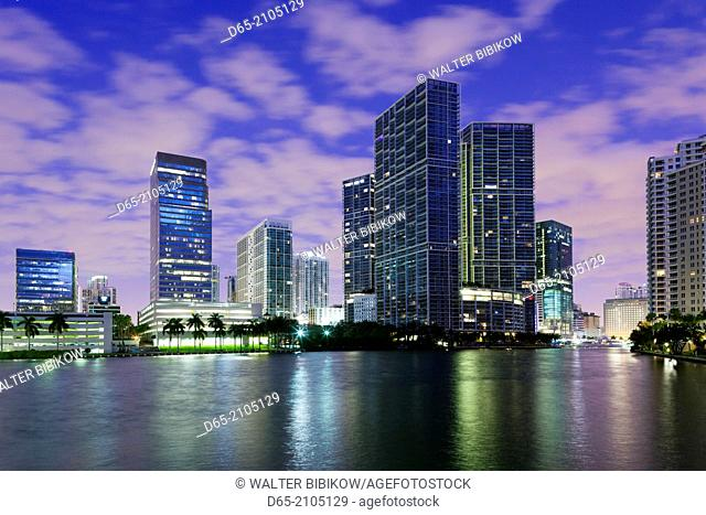 USA, Florida, Miami, city skyline from Brickell Key, dawn