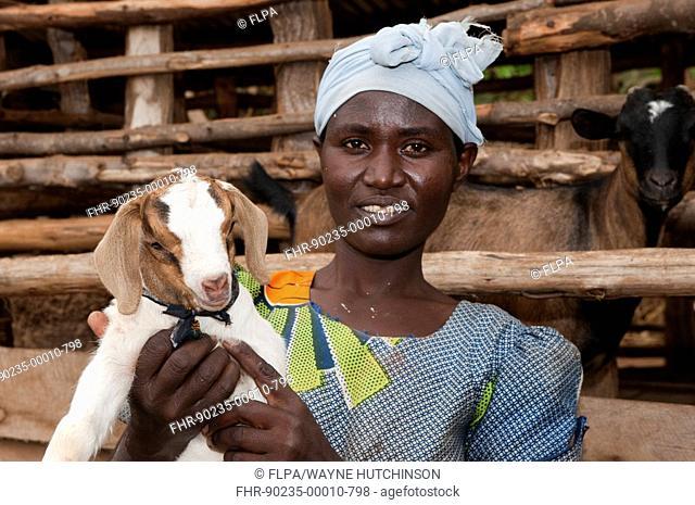 Goat farming, woman holding young Boer goat beside shed, Rwanda
