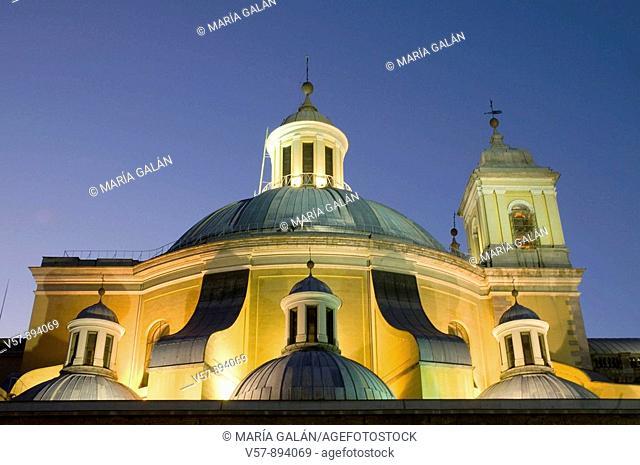 Detail of San Francisco el Grande church, night view. Madrid, Spain