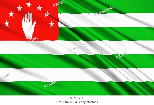 Flag of Abkhazia waving in the wind