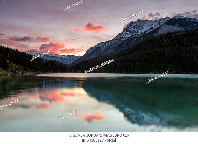 Cloudy atmosphere on Two Jack Lake, Banff National Park, Canadian Rockies, Alberta Province, Canada