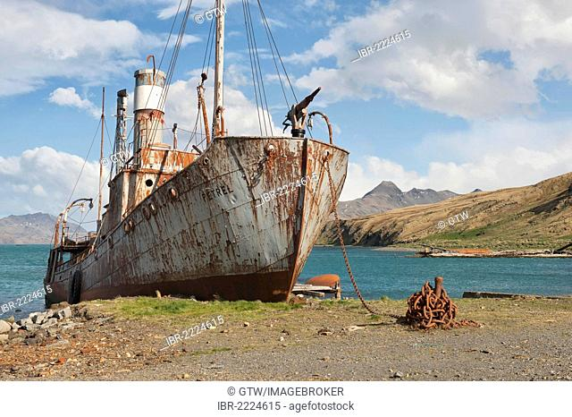 Abandoned, rusting whaling ship, former Grytviken Whaling Station, South Georgia, Antarctica