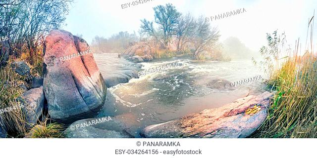 Beautiful river Ukraine- Southern Bug. The biggest rapids - the famous Migeyskie, Bogdanovsky, Bug Guard with high cliffs and ancient forests on the background...