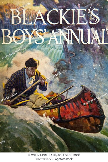 Blackie's Boys' Annual, Man paddles canoe down Canadian river, Blackie and sons. London, 1925