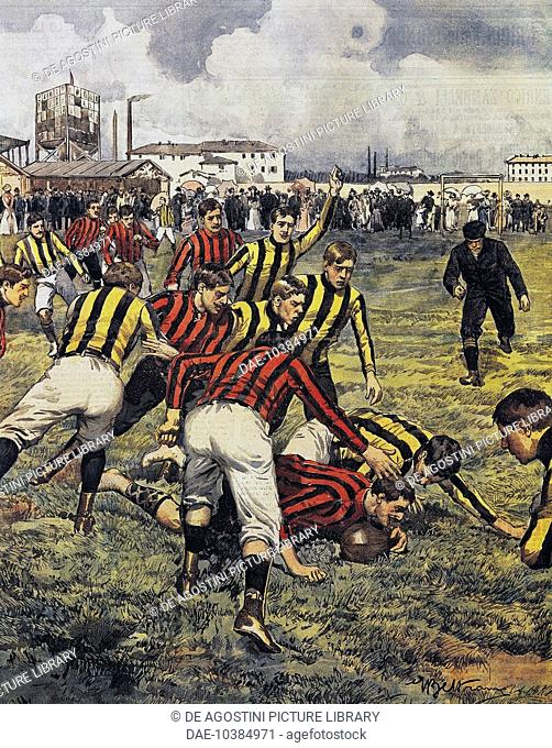A game of football, a match between Milan and Turin for the Kings cup, illustration by Achille Beltrame (1871-1945), from La Domenica del Corriere, March 16
