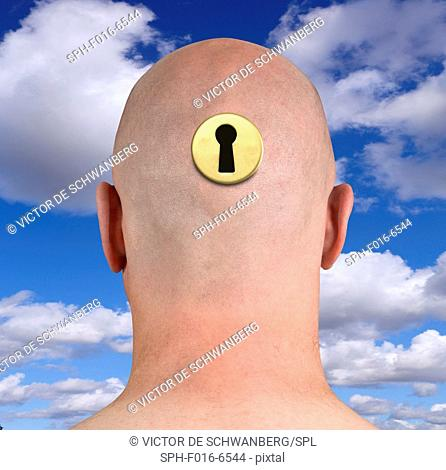 Person's head with keyhole, rear view illustration