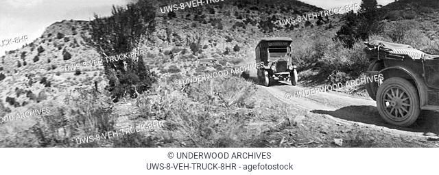 United States: 1918.The caravan of trucks and cars of the Goodyear Wingfoot Express traveling on the Lincoln highway from Boston to San Francosco
