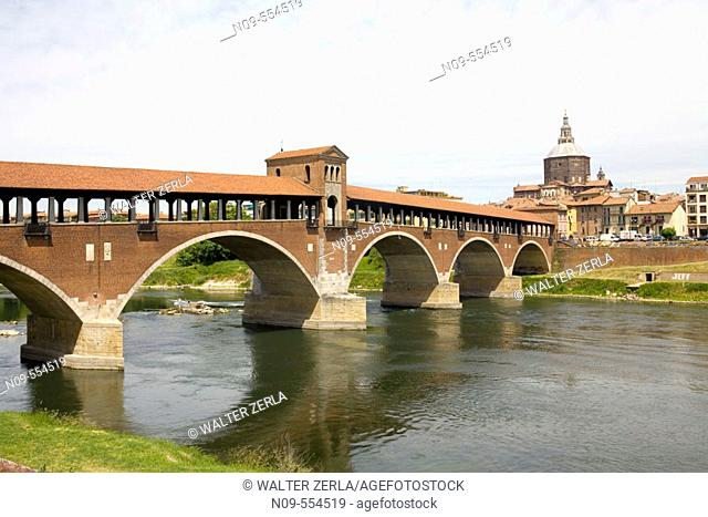 Covered bridge, Pavia. Lombardy, Italy