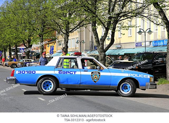 Salo; Finland. May 18; 2019. Late70s or early 80s Oldsmobile City of NY Police Department police car on the street. Salon Maisema Cruising 2019