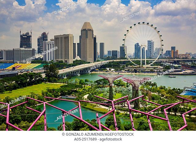 In the foreground Supertrees Grove at Gardens by the Bay. In the background The Singapore Flyer. Giant Ferris wheel. Singapore. Asia