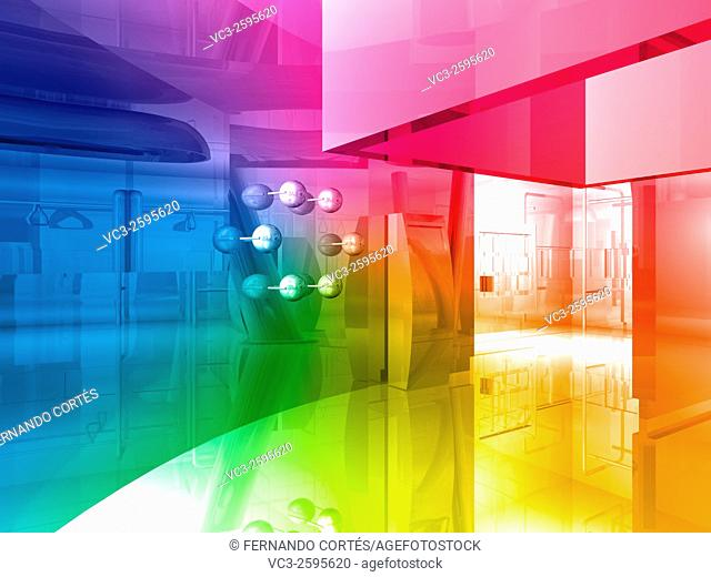 conceptual architecture, open space of colors