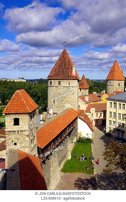 Town wall with watch towers around Tallinn. Estonia