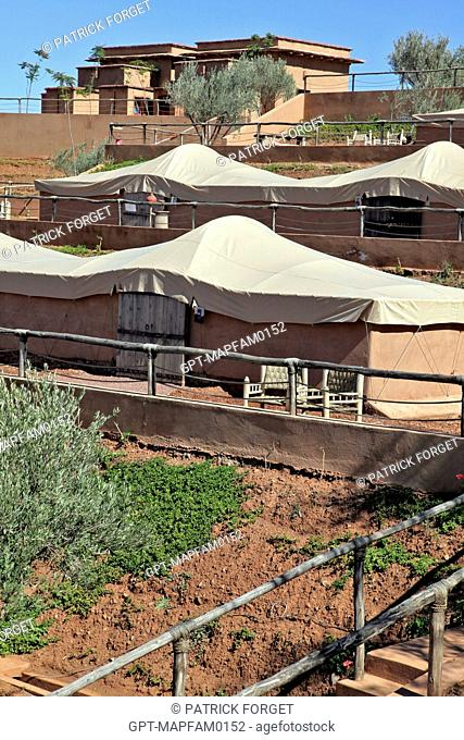 THE TENT LODGES DESIGNED IN PURE BERBER TRADITION WITH COMFORT AND RESPECT FOR THE ENVIRONMENT IN MIND, DOMAINE DE TERRES D'AMANAR, TAHANAOUTE, AL HAOUZ