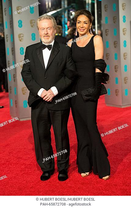 Director Ridley Scott and Giannina Facio arrive at the EE British Academy Film Awards, BAFTA Awards, at the Royal Opera House in London, England
