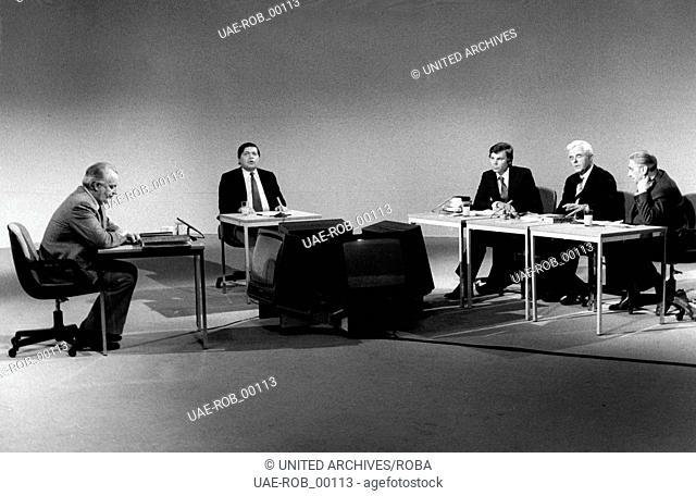 Professor Hoimar von Ditfurth, Walther Schmieding, Karsten Kröncke, Dr. Heinz Fidelberger und Reinhold Ebertin im Streitgespräch über Astrologie am 04