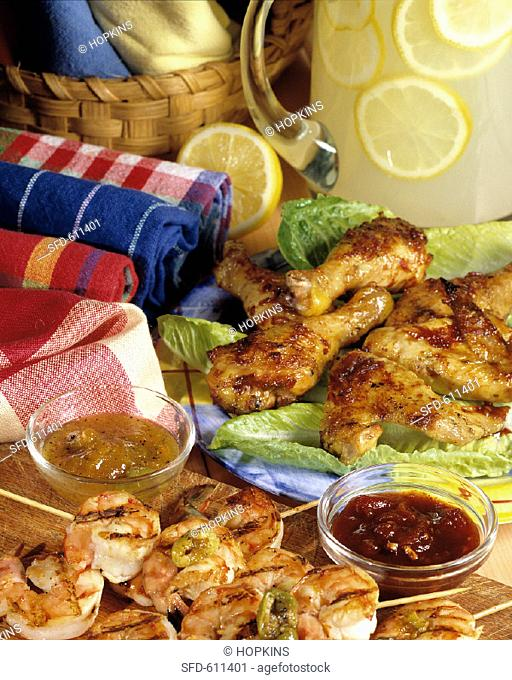 Grilled Shrimp and Chicken for a Picnic