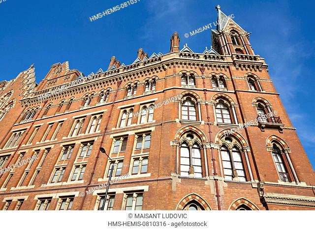 United Kingdom, London, King's Cross, St. Pancras International Station, part of the Renaissance St Pancras hotel in Victorian architecture, dating 1868