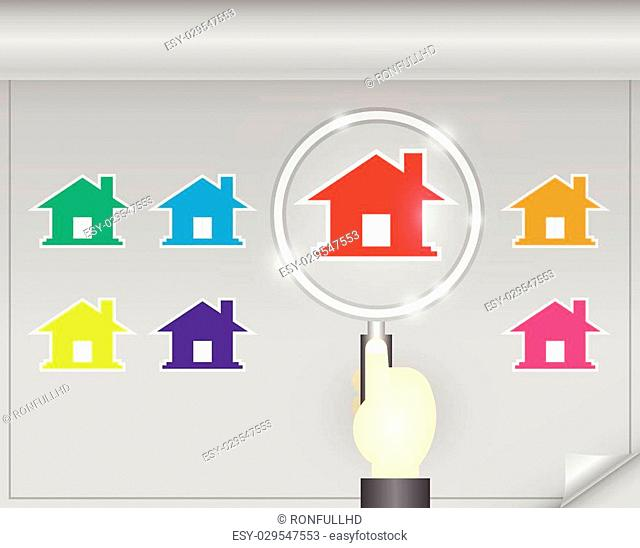 Illustration of home model and magnifier on dark background