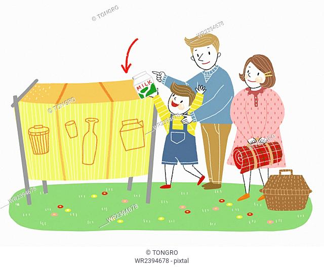 Recycling family on a picnic representing public etiquette in illustration