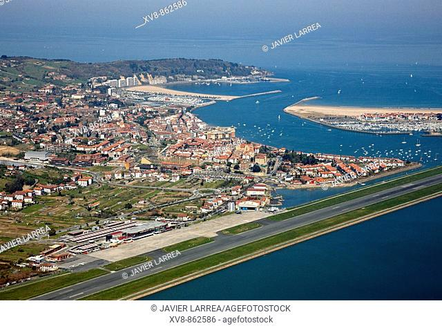 San Sebastian airport and Hondarribia. Bidasoa river mouth, Txingudi Bay, Basque Country, Spain