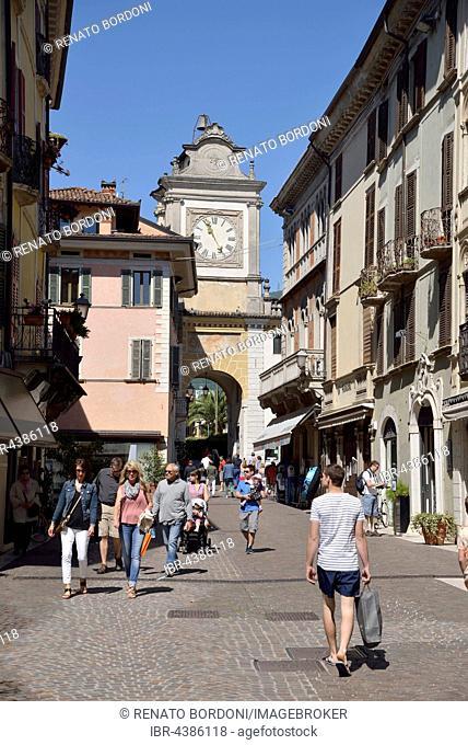 City gate, Porta dell'orologio, Salo, Lake Garda, Province of Brescia, Lombardy, Italy