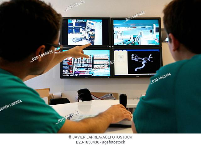 Surgery preparation screens, Interventional Neuroradiology, Radiology Department, Donostia Hospital, San Sebastian, Donostia, Gipuzkoa, Basque Country, Spain