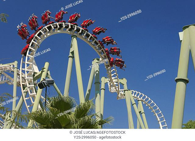Isla Magica (Magic Island) Theme Park, The Jaguar - roller coaster (and people upside), Seville, Region of Andalusia, Spain, Europe