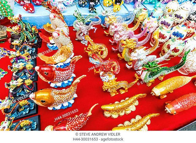 China, Hong Kong, Mong Kok, Ladies Market, Display of Souvenir Chinese Goodluck Figurines