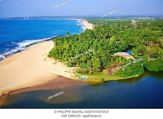 Sri Lanka, Southern Province, South Coast beach, Tangalle beach, aerial view