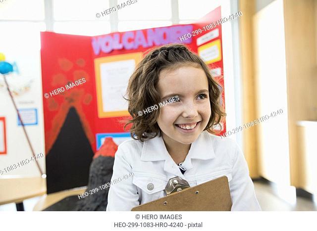 School girl at science fair