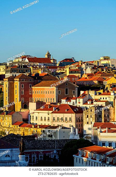 Portugal, Lisbon, Cityscape viewed from the Miradouro de Santa Justa