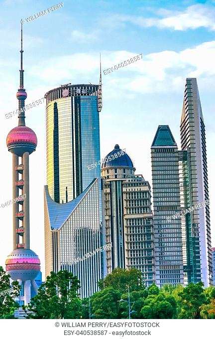 Oriental Pearl TV Tower Skyscrapers Cityscape Shanghai China