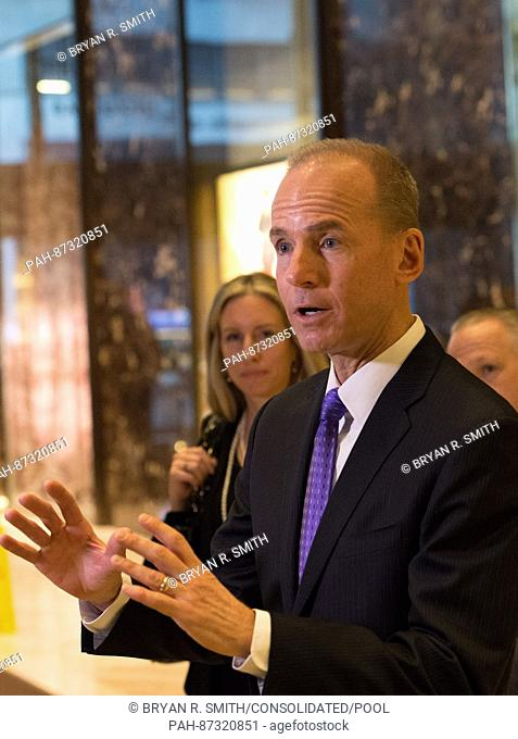 Dennis A. Muilenburg, president and chief executive officer of The Boeing Company, speaks to the media Trump Tower on January 17, 2017 in New York City
