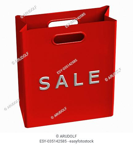 Red shopping bags with word sale, isolated on white background. 3D rendering