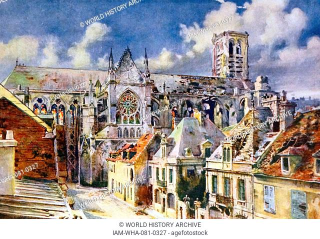 Painting depicting the Commune of Soissons, in the Aisne department in Picardy in northern France, located on the Aisne River. Dated 19th Century