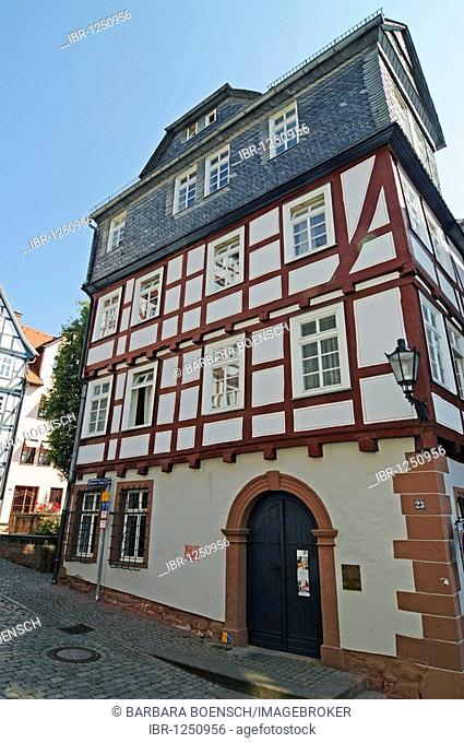Brueder Grimm Stube, Brothers Grimm house, museum, historic half-timbered house, old town, Marburg, Hesse, Germany, Europe