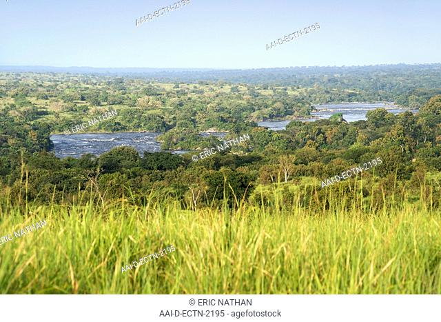 View across the plains and the Victoria Nile River in Murchison Falls National Park in Uganda