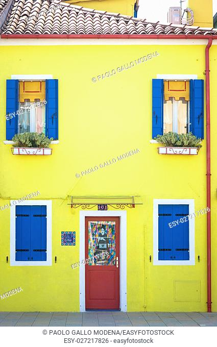 Pitoresque painted houses in Burano Isle, Venice, Italy