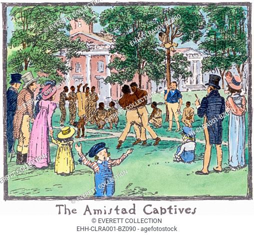 The Amistad Mutiny survivors exercising on the New Haven town green where they attracted the curiosity seekers. During their successful revolt on the slave ship...