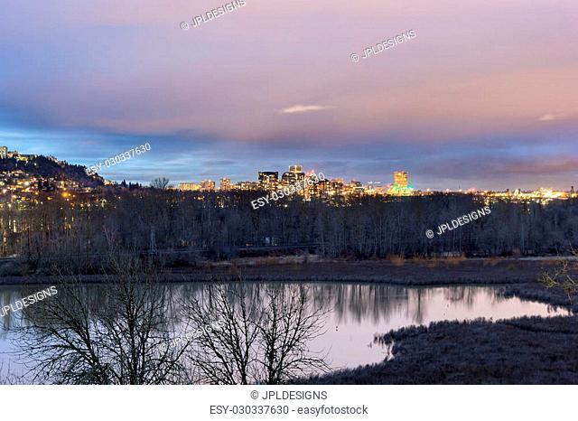 Portland Oregon Downtown City Skyline View from Oaks Bottom Wildlife Refuge at twilight