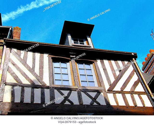 typical half timber house of Normandy. Honfleur, Calvados Department, Basse-Normandie Region, France, Europe. .