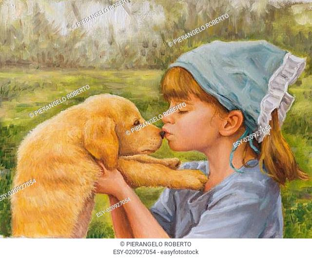 on canvas portrait of a little girl and her dog