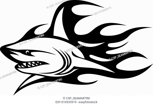 3e4827ec9 Angry shark tribal tattoo Stock Photos and Images | age fotostock