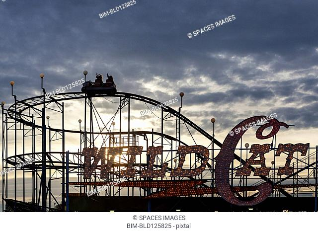 Silhouette of wild cat rollercoaster at Puyallup Fair, Puyallup, Washington, United States