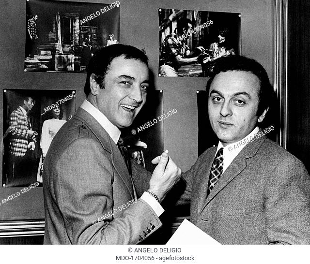 Paolo Carlini together with the stage director Pierantonio Barbieri. The actor Paolo Carlini points the camera with the thumb, smiling