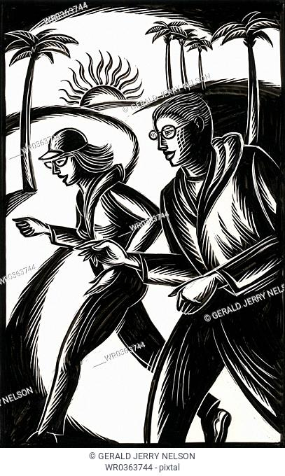man and woman jogging in park
