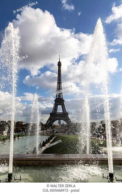 View of park fountains and Eiffel Tower, Paris, France